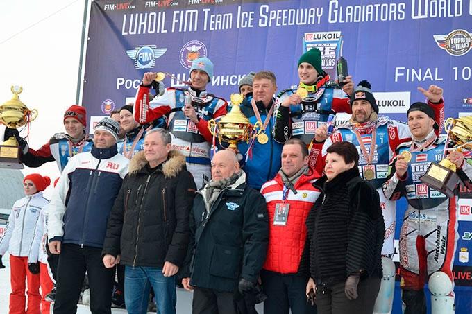 Сборная России - победители командного чемпионата мира по ледовому спидвею