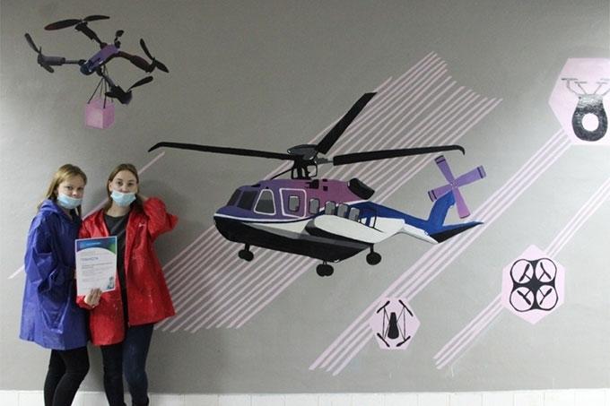 Стены шадринского «Кванториума» расписали молодые дизайнеры