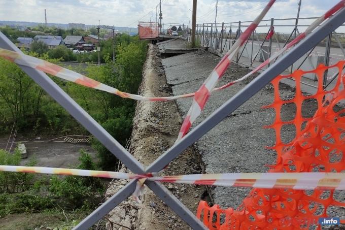 В Шадринске обрушилась часть моста