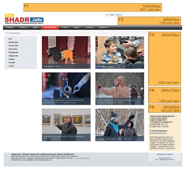 Реклама в Шадринске. Прайс-лист. Баннеры. Цены. shadr.info