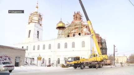Установка купола на церкви Николая Чудотворца
